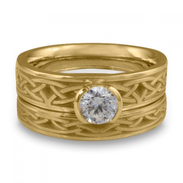 Extra Narrow Celtic Arches Engagement Ring Set in 18K Yellow Gold