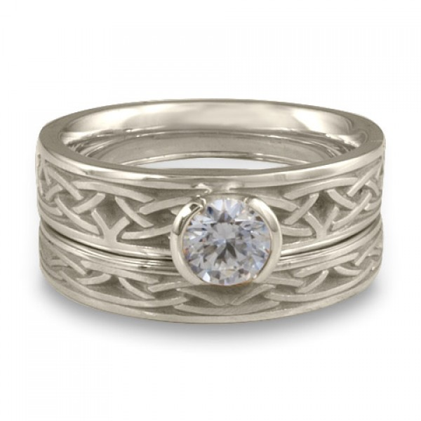 Extra Narrow Celtic Arches Engagement Ring Set in Platinum