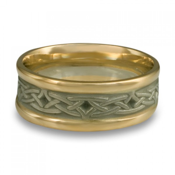 Extra Narrow Two Color Celtic Arches Wedding Ring in 18K Two Tone Gold