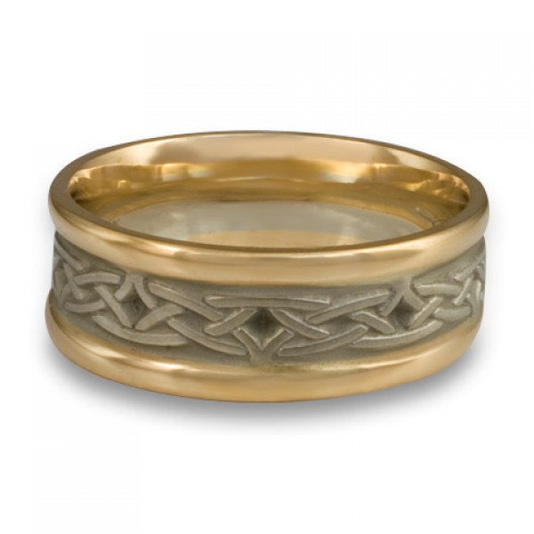 Extra Narrow Two Color Celtic Arches Wedding Ring in 14K Two Tone Gold