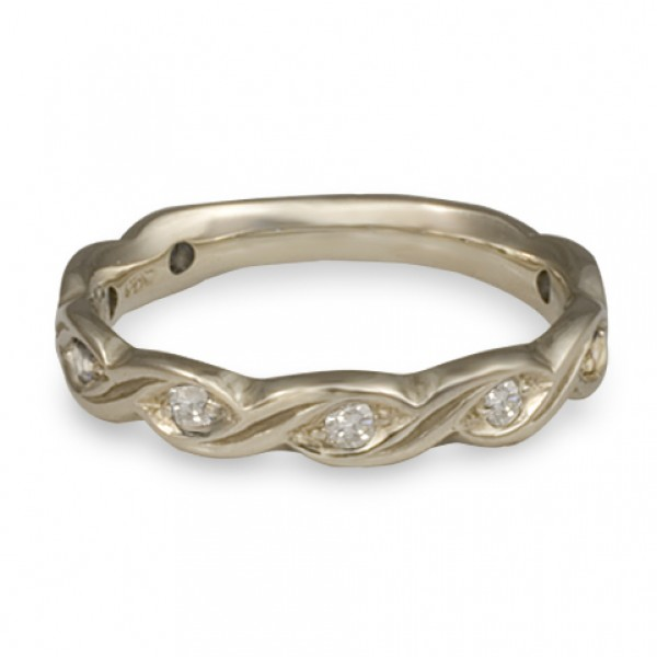 Narrow Tides with Diamonds Wedding Ring in 14K White Gold
