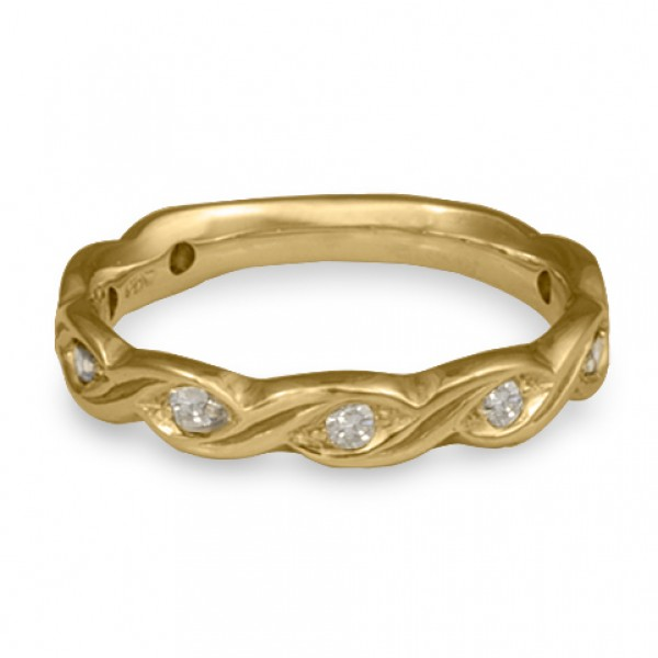Narrow Tides with Diamonds Wedding Ring in 14K Yellow Gold