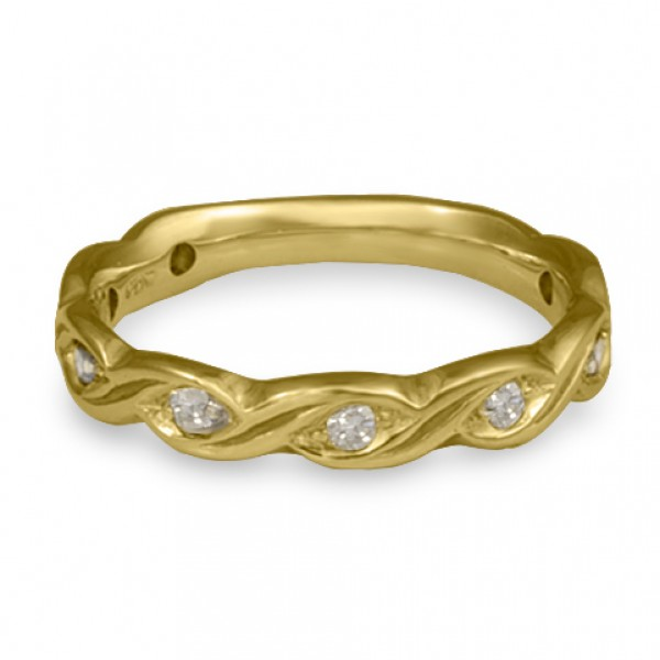 Narrow Tides with Diamonds Wedding Ring in 18K Yellow Gold