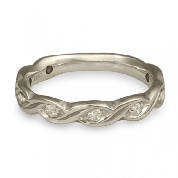 Narrow Tides with Diamonds Wedding Ring in Platinum