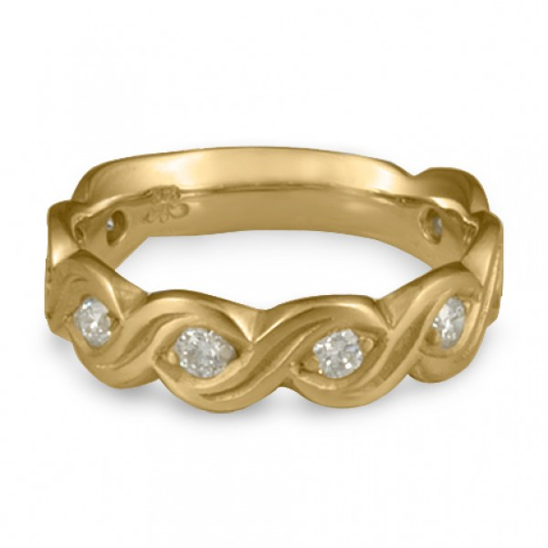 Wide Tides with Diamonds Wedding Ring in 14K Yellow Gold