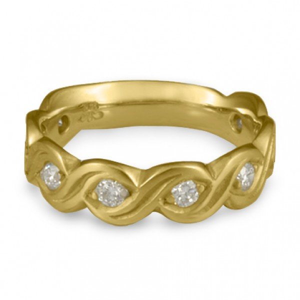 Wide Tides with Diamonds Wedding Ring in 18K Yellow Gold