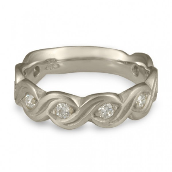 Wide Tides with Diamonds Wedding Ring in Platinum