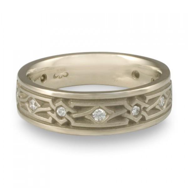 Narrow Weaving Stars With Diamonds Wedding Ring in 14K White Gold
