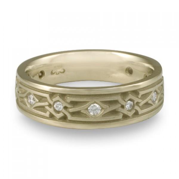 Narrow Weaving Stars With Diamonds Wedding Ring in 18K White Gold