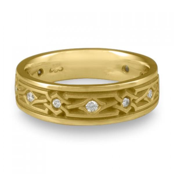 Narrow Weaving Stars With Diamonds Wedding Ring in 18K Yellow Gold