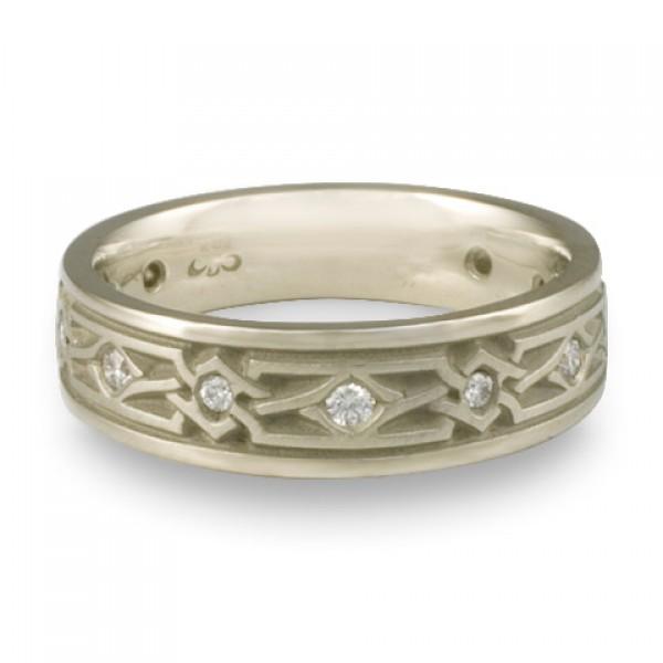 Narrow Weaving Stars With Diamonds Wedding Ring in Platinum