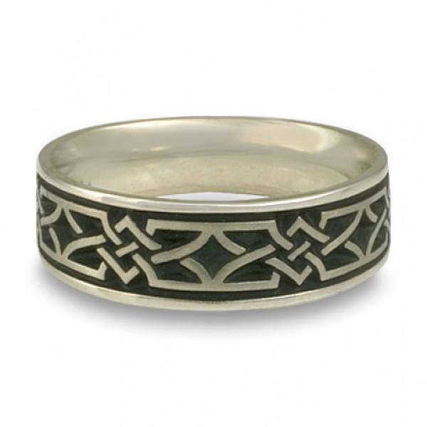 Wide Weaving Stars Wedding Ring in 18K White Gold