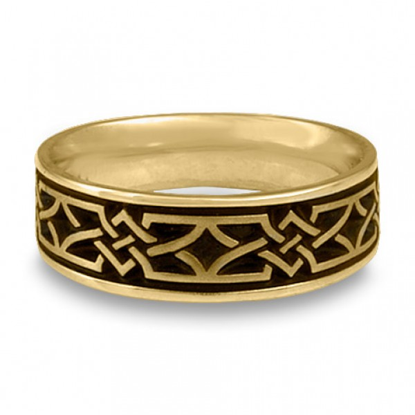 Wide Weaving Stars Wedding Ring in 18K Yellow Gold
