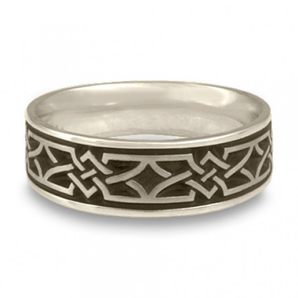 Wide Weaving Stars Wedding Ring in Platinum