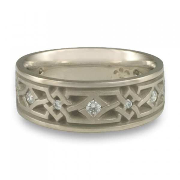 Wide Weaving Stars with Diamonds Wedding Ring in 14K White Gold