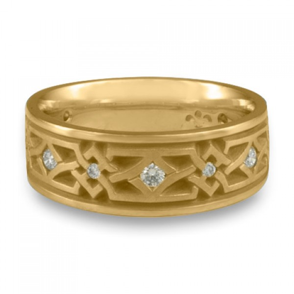 Wide Weaving Stars with Diamonds Wedding Ring in 14K Yellow Gold