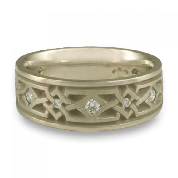 Wide Weaving Stars with Diamonds Wedding Ring in 18K White Gold