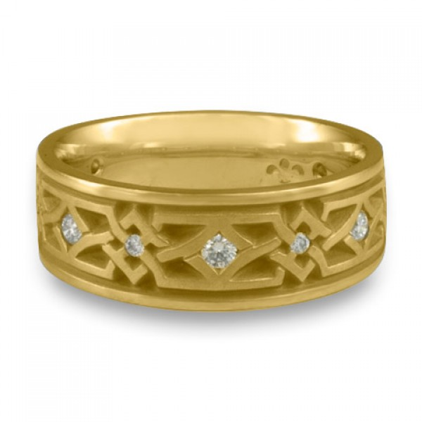 Wide Weaving Stars with Diamonds Wedding Ring in 18K Yellow Gold