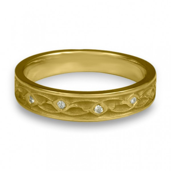 Extra Narrow Water Lilies with Diamonds Wedding Ring in 18K Yellow Gold