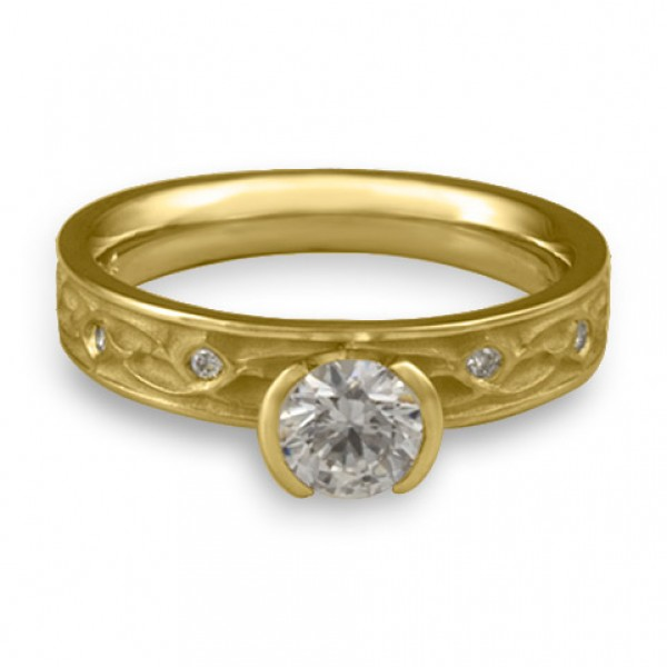 Extra Narrow Water Lilies Engagement Ring With Diamonds in 18K Yellow Gold