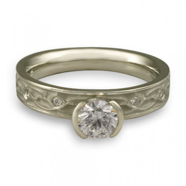 Extra Narrow Water Lilies Engagement Ring With Diamonds in Platinum