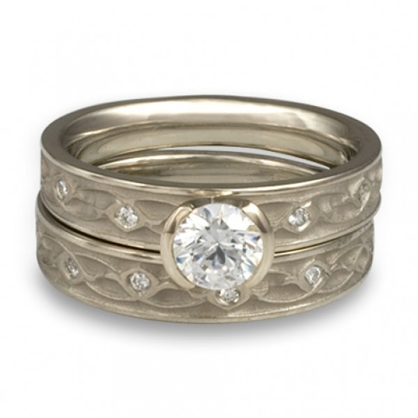 Extra Narrow Water Lilies Engagement Ring Set With Diamonds in 14K White Gold