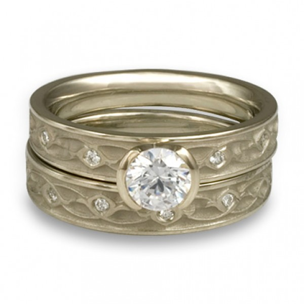 Extra Narrow Water Lilies Engagement Ring Set With Diamonds in 18K White Gold
