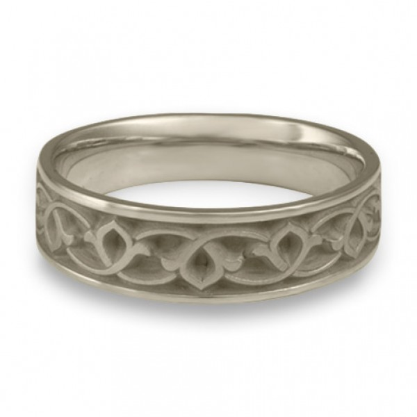 Wide Water Lilies Wedding Ring in 14K White Gold