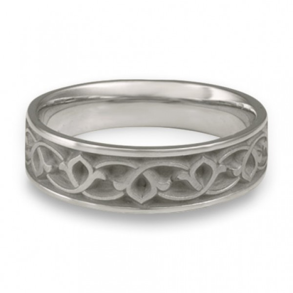 Wide Water Lilies Wedding Ring in Platinum