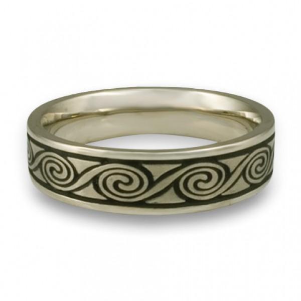 Narrow Rolling Moon Wedding Ring in 18K White Gold