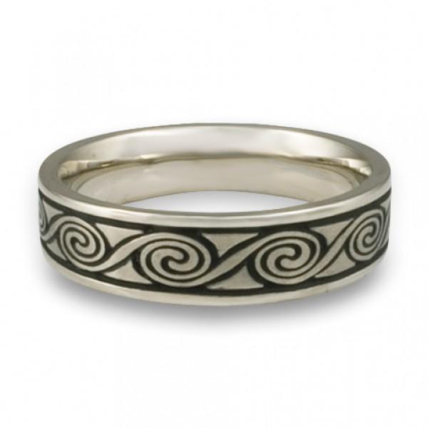 Narrow Rolling Moon Wedding Ring in Platinum