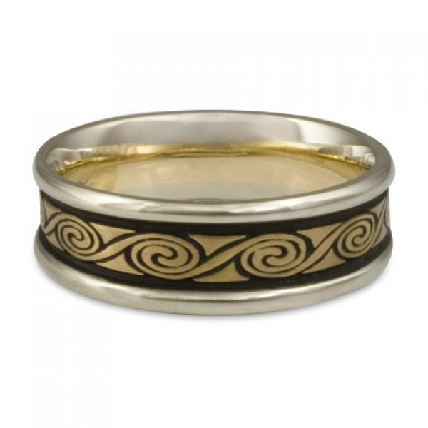 Narrow Two Color Rolling Moon Wedding Ring in 18K Two Tone Gold