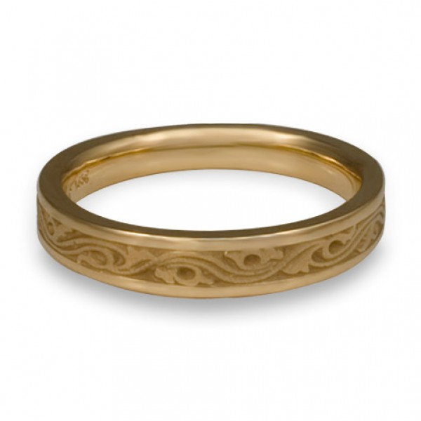 Extra Narrow Wind and Waves Wedding Ring in 14K Yellow Gold