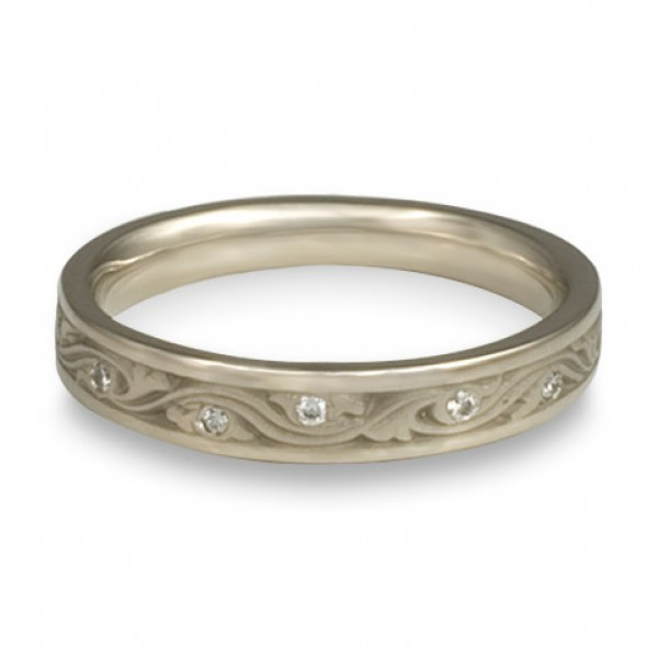 Extra Narrow Wind and Waves With Diamonds Wedding Band in 14K White Gold