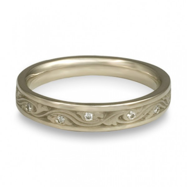 Extra Narrow Wind and Waves With Diamonds Wedding Band in 18K White Gold