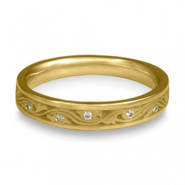Extra Narrow Wind and Waves With Diamonds Wedding Band in 18K Yellow Gold