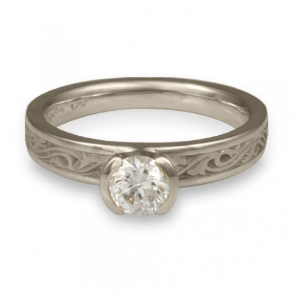 Extra Narrow Wind and Waves Engagement Ring in 14K White Gold