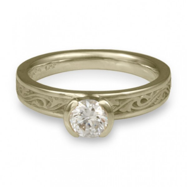 Extra Narrow Wind and Waves Engagement Ring in 18K White Gold