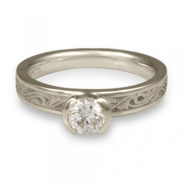 Extra Narrow Wind and Waves Engagement Ring in Platinum