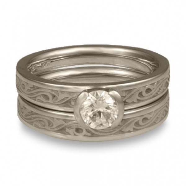 Extra Narrow Wind and Waves Engagement Ring Set in 14K White Gold