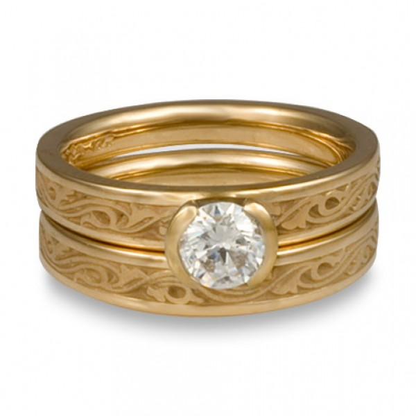 Extra Narrow Wind and Waves Engagement Ring Set in 14K Yellow Gold