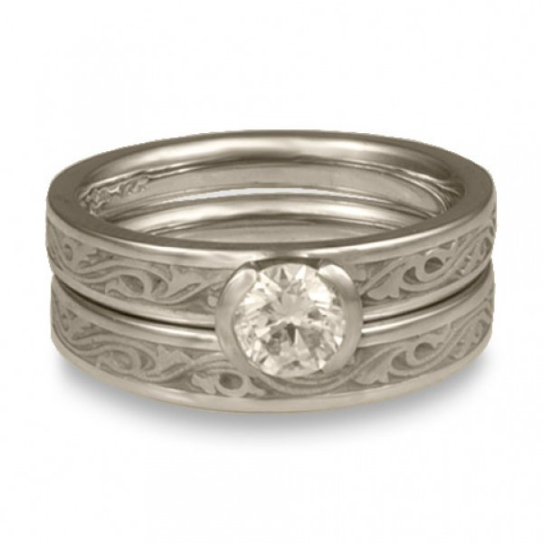 Extra Narrow Wind and Waves Engagement Ring Set in Platinum