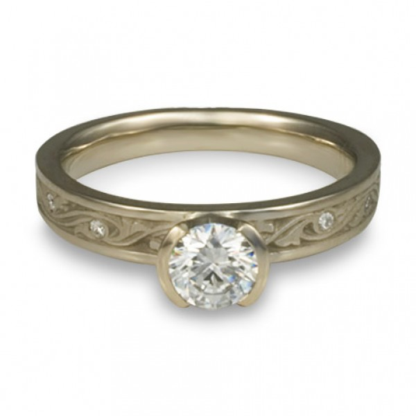 Extra Narrow Wind and Waves With Diamonds Engagement Ring in 14K White Gold