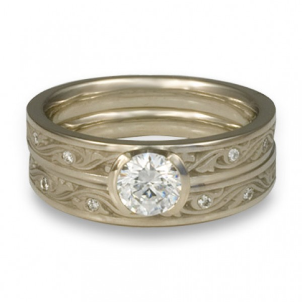 Extra Narrow Wind and Waves with Diamonds Engagement Ring Set in 14K White Gold