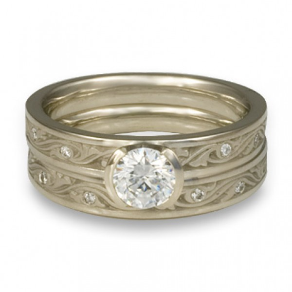 Extra Narrow Wind and Waves with Diamonds Engagement Ring Set in Platinum