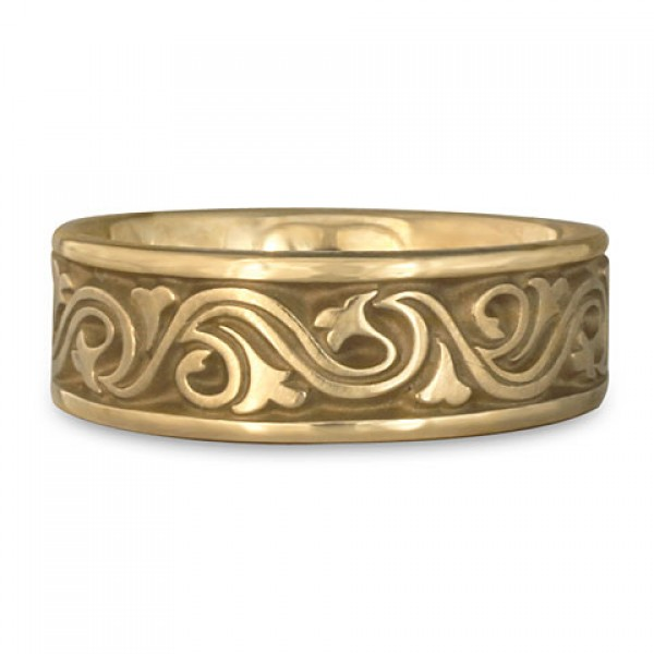 Wide Wind and Waves Wedding Ring in 14K Yellow Gold