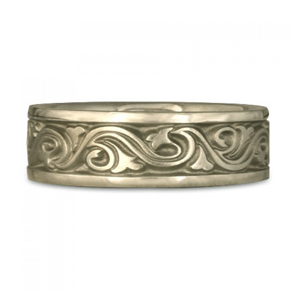 Wide Wind and Waves Wedding Ring in 18K White Gold