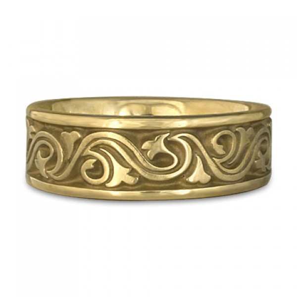 Wide Wind and Waves Wedding Ring in 18K Yellow Gold