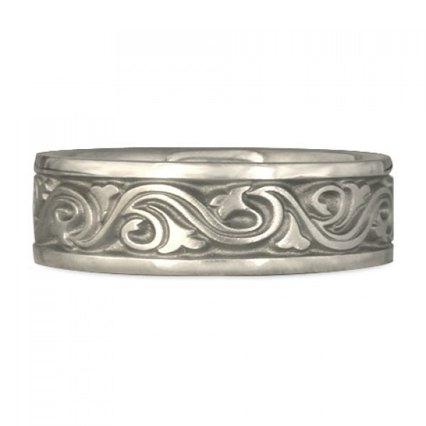 Wide Wind and Waves Wedding Ring in Platinum