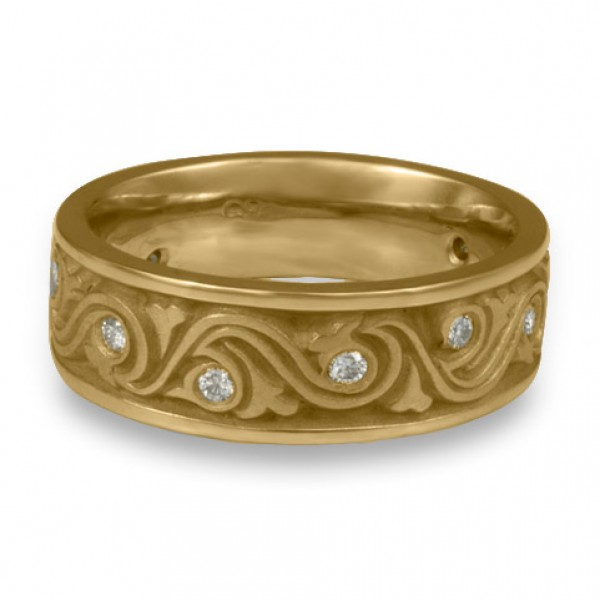 Wide Wind and Waves With Diamonds Wedding Ring in 14K Yellow Gold